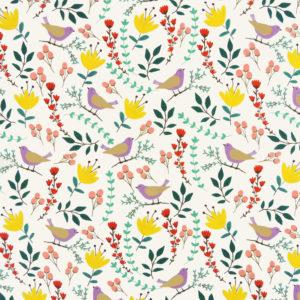 Ткань бежевые птицы - ZIGZAG SHOP