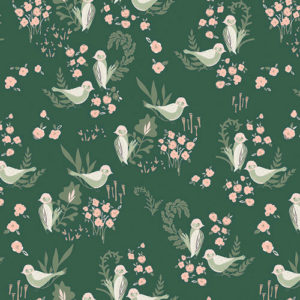 Ткань зеленые птицы - студия SOVA