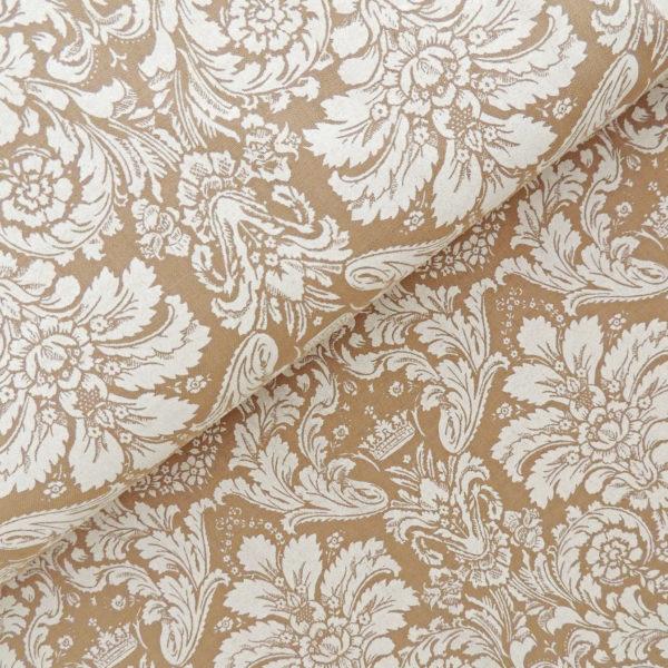 Ткань дамаск белый на коричневом - студия SOVA