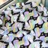 Ткань черные единороги - ZIGZAG SHOP
