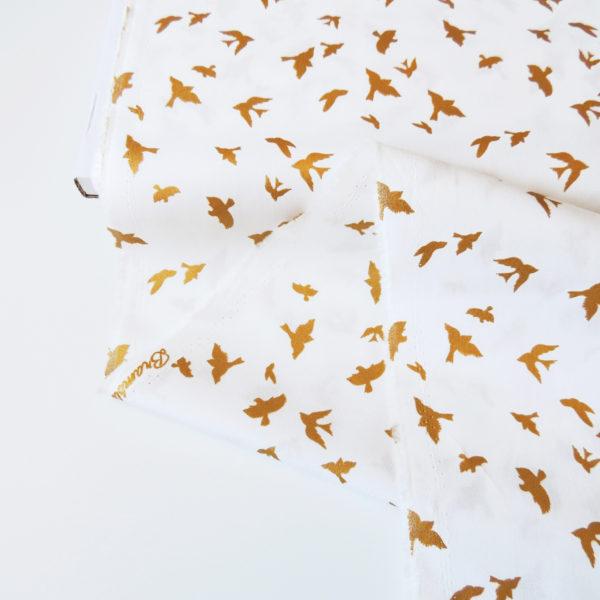 Ткань птички золото