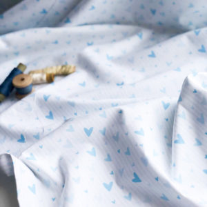 Ткань сердечки на белом - ZIGZAG SHOP