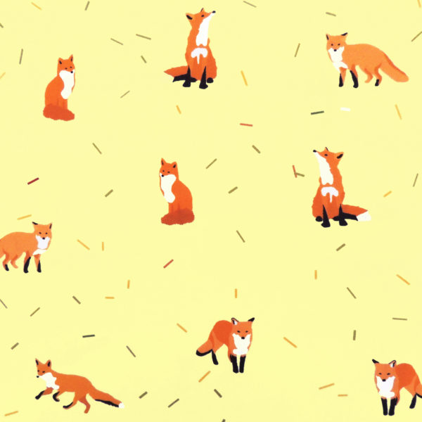 Ткань желтые лисички - студия SOVA