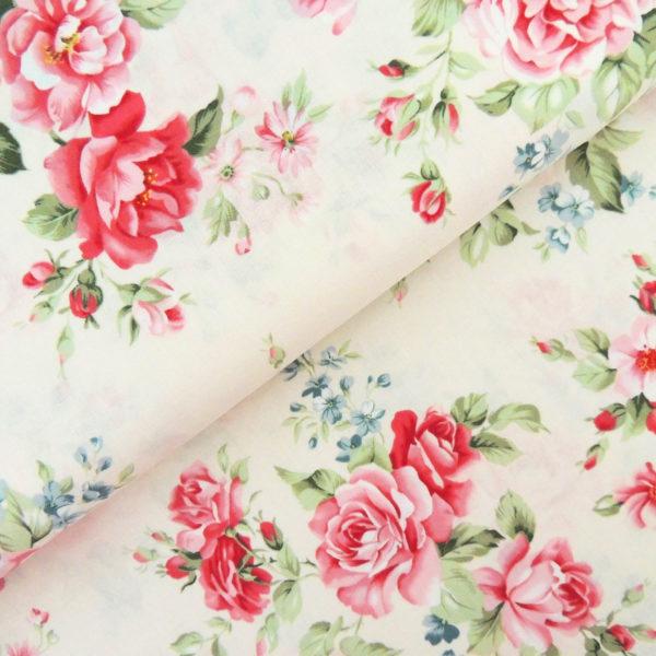 Ткань розы на бежевом - студия SOVA