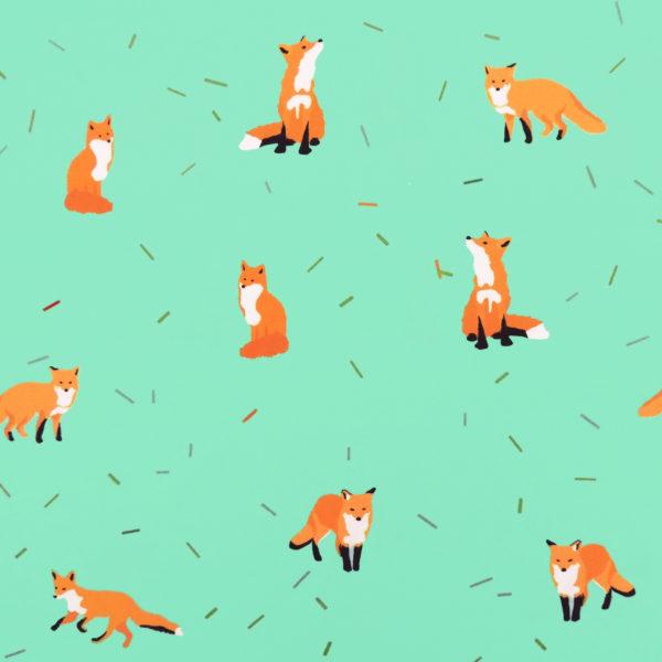 Ткань мятные лисички - студия SOVA