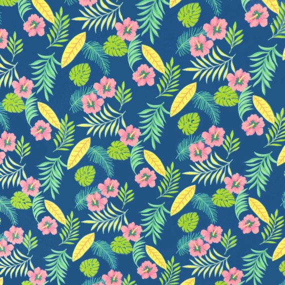 Ткань синие цветы