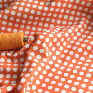 Ткань горох оранжевый - ZIGZAG SHOP