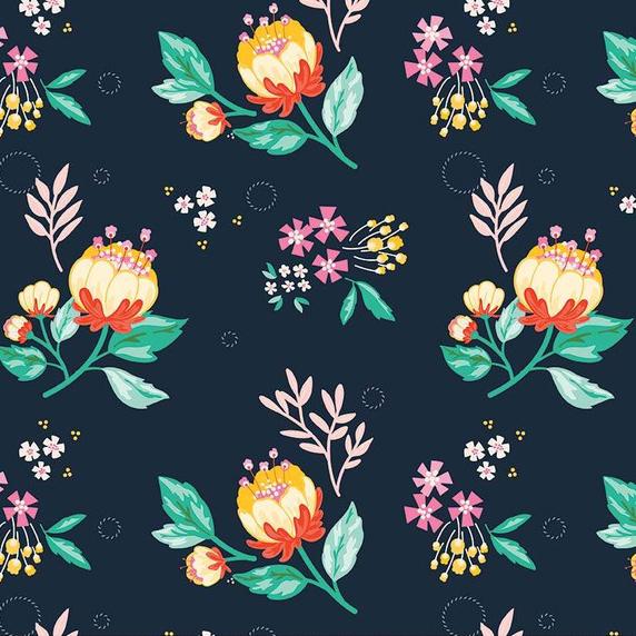 Ткань графитовые цветы - ZIGZAG SHOP