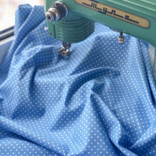 Ткань горох голубой - ZIGZAG SHOP