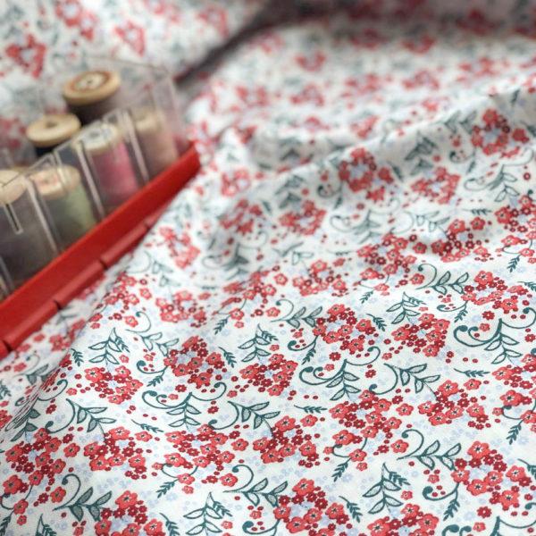 Ткань красные цветы - ZIGZAG SHOP