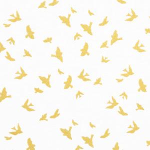 Ткань птички золото - студия SOVA