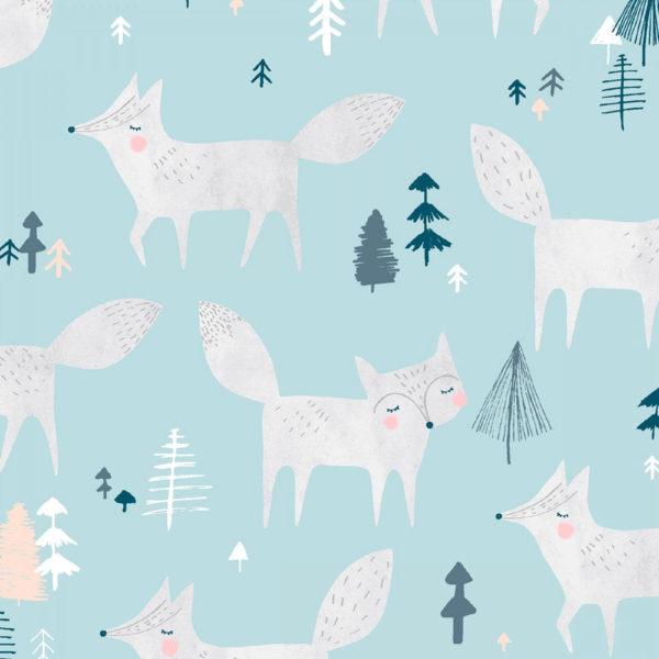 Ткань лисы на голубом - ZIGZAG SHOP