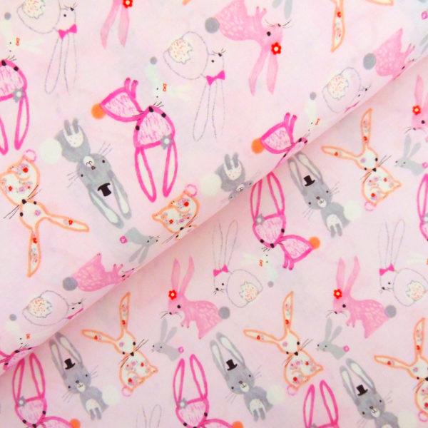 Ткань розовые кролики - студия SOVA