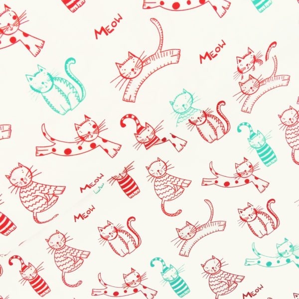 Ткань белые котики - студия SOVA