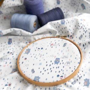 Ткань мишки на белом - ZIGZAG SHOP