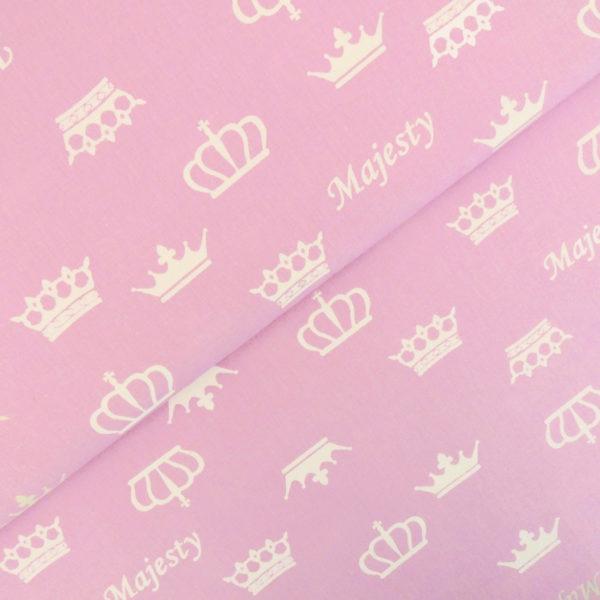 Ткань розовые короны - студия SOVA