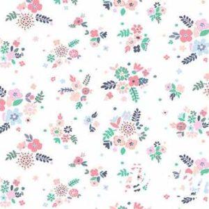 Ткань цветы на белом