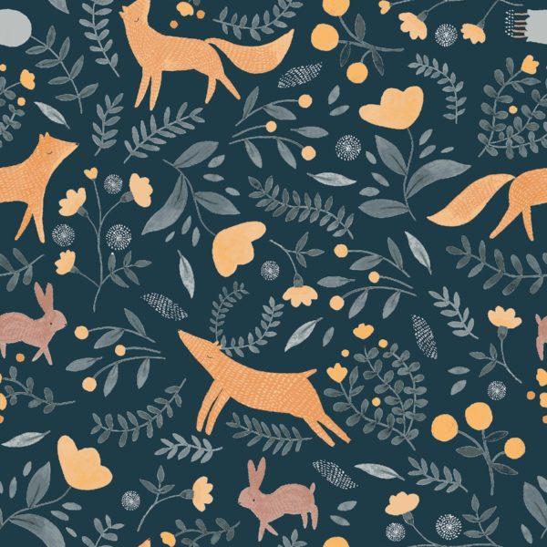 Ткань синие лисы - студия SOVA