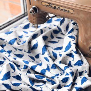 Ткань синие кашалоты - студия SOVA