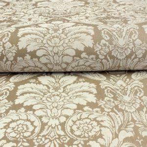 Ткань дамаск белый на коричневом