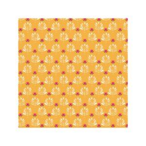 Ткань цветочки на оранжевом