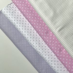 Ткань белый горох на розовом