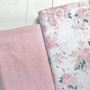 Ткань крестики на розовом