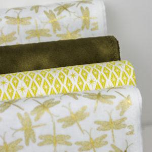 Ткань золотые стрекозы