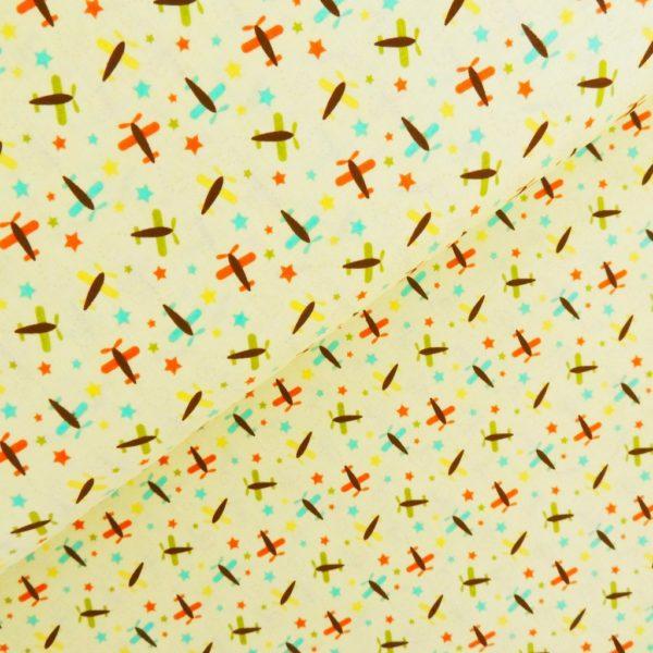 Ткань самолётики желтые