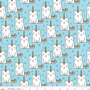 Ткань коты-единороги голубые