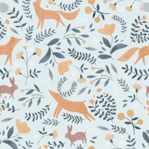 Ткань голубые лисы - студия SOVA
